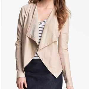 Halogen leather draped waterfall open jacket nude